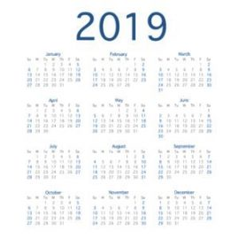 2019 Calendar Year Simple Calendar Layout For 2019 Year Vector Illustration